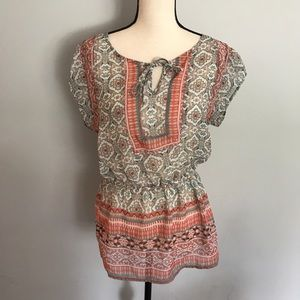 Maurices floral multi print peplum top coral tie